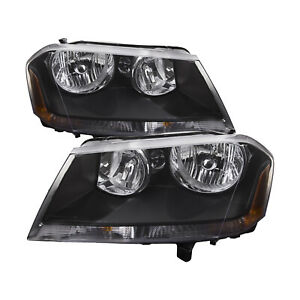 Fits 08 14 Dodge Avenger Rt Headlights Headlamps Pair Set Halogen New