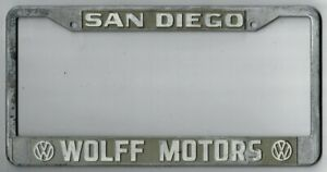 San Diego California Wolff Motors Volkswagen Vintage Dealer License Plate Frame