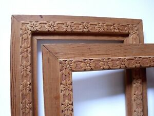 Lot 2 Matching Vintage Hand Made Wooden Picture Frames 9 1 4 X 6 1 2 Rabbets