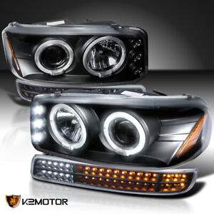 For 1999 2006 Gmc Sierra Yukon Black Projector Headlights sequential Led Signal