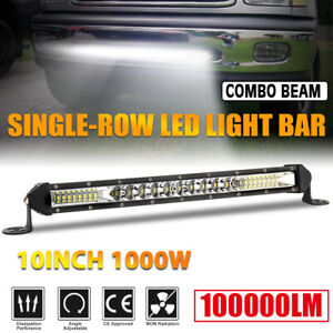 Ultra Thin 1000w 10inch Led Light Bar Combo Flood Spot Offroad Truck Utv Suv 12