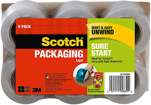 6 Rolls Packing Tape Shipping Scotch Strong Quiet Unwind Clear Polypropylene