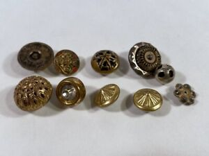 Lot Of 10 Antique Vintage Metal Brass Cut Steel Victorian Buttons Red Black