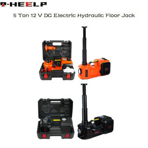 Car Jack Lift 12v 5ton Electric Hydraulic Floor Jack Tire Inflator Pump Tool Kit