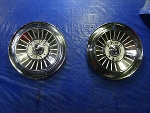 Pair 1957 Ford Hubcaps Fairlane Sunliner Ranchero 14 Wheel Covers Hubcaps