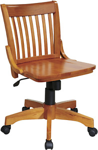 Osp Home Furnishings Deluxe Wood Bankers Armless Desk Chair With Wood Seat Frui