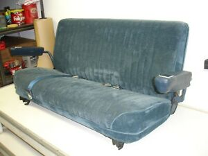 1981 1991 Chevy Gmc Blazer Jimmy Suburban K5 Rear 3rd Row Seats Blue Seat Belts