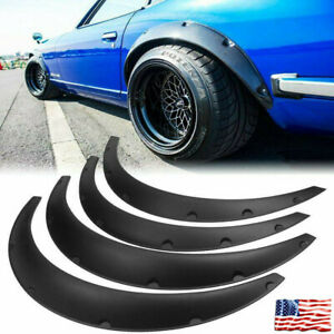 4pcs Universal Car Fender Flares Wide Body Wheel Arches Flexible Durable Abs
