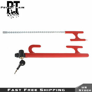 Red 3 Way Steering Wheel Lock Heavy Duty Anti theft Device For Car Truck