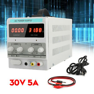 Adjustable Power Supply 30v 5a 110v Precision Variable Dc Digital Lab W clip Us
