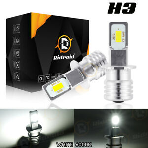 2pcs H3 Led Headlight 100w 10000lm Fog Light Bulbs 6000k White Driving Drl Lamp