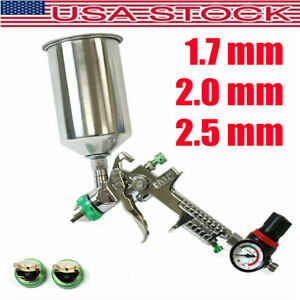 Hvlp Paint Spray Gun Gravity Fed 1l Aluminium Cup W Air Regulator 1 7 2 0 2 5mm