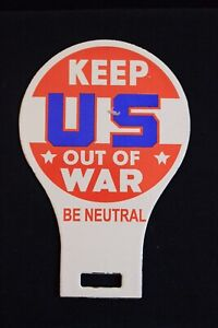 Ingram Richardson Keep Us Out Of War License Plate Topper Accessory Badge