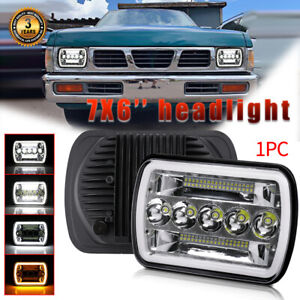 5x7 7x6 Inch Led Headlight Hi Lo Beam Yellow Drl For Nissan Pickup Hardbody D21