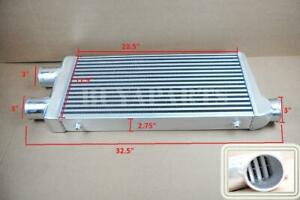 32 5x11 75x3 2 In 1 Out Tube Fin Aluminum Twin Turbo Front Mount Intercooler