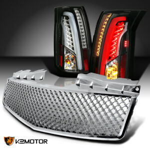 Black 2003 2007 Cadillac Cts Led Bar Tail Lights honeycomb Style Front Grille