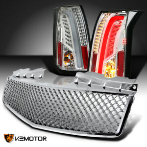 Clear 2003 2007 Cadillac Cts Led Bar Tail Lights honeycomb Front Hood Grille