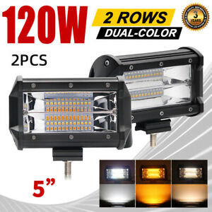 2pc 5 Led Work Light Offroad Pod Lights Yellow Driving Fog Lamps Trucks Atv Utv