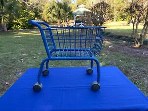 Vintage Blue Metal Toddlers Childs Rolling Shopping Cart Buggy 18 X 18 X 11