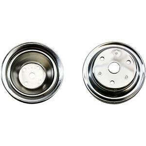 Sbc Chrome Pulley Set 1 Groove Upper 2 Groove Lower Long Pump