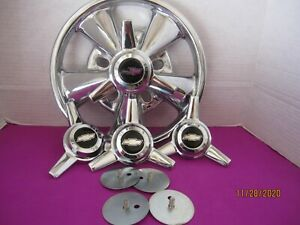 4 Custom Caps 3 Bar Spinners for The Vintage Cragar Ss Wheels Black Silver Bow