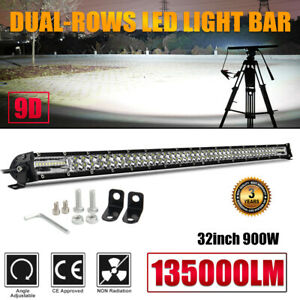 32 Dual Row Cree Led Work Light Bar 900w Flood Spot Combo Offroad Driving Lamp