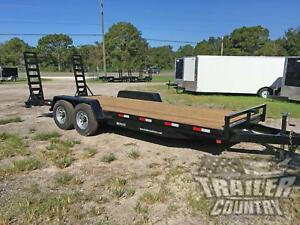 New 2021 7 X 20 14k Flatbed Heavy Duty Wood Deck Equipment Trailer W Dove Tail