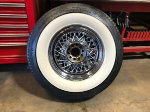 Set Of 4 Chrome Wire Wheels And Tires