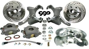 60 62 Chevy Gmc C10 Truck 12 Drilled Disc Brake 6 Lug Kit W 2 5 Drop Spindle