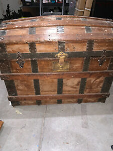 Antique Steamer Trunk Vintage Victorian Wooden Medal Dome Top Chest Mm Secor