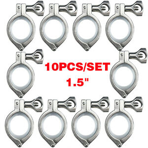 1 5 Tri Clamp Clover Sanitary Fits 50 5mm Od Ferrule 10pack Stainless Steel 316