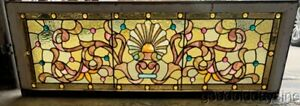 Antique 1890 S Victorian Stained Leaded Glass Transom Window W 36 Jewels 52 X18