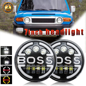 For Toyota Fj Cruiser 7 Inch Round Led Headlights Amber Halo Ring Lights Drl