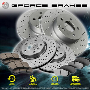 Front rear Cross Drilled Rotors Ceramic Pads For 2012 2014 Volkswagen Gti