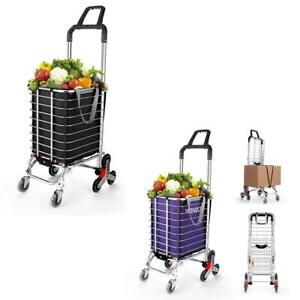 8 Wheel Folding Stair Climbing Shopping Cart Jumbo Basket Grocery Trolley W bag
