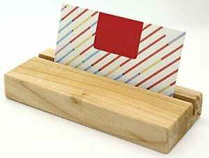Business Card Holder Wooden Eco friendly Desk Display Stand Case Wood Office Na