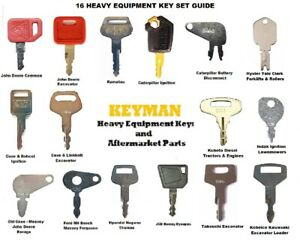 16 Keys Heavy Equipment Construction Ignition Key Set Case Cat Jd Komatsu Jcb