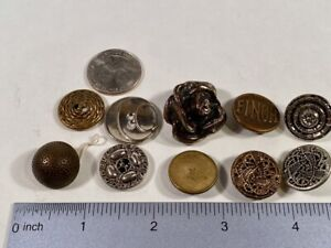 Lot Of 10 Antique Vintage Metal Silver Rose Brass Victorian Black Buttons Finch