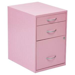 Metal Lockable Filing Cabinet With 3 Drawers Pink