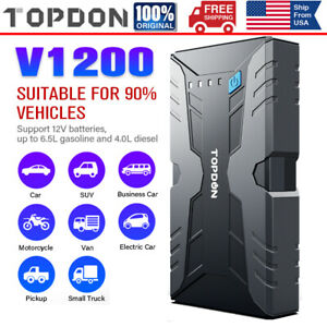 Topdon 12v Portable Automotive Car Jump Starter 1200a Jumper Box Battery Booster
