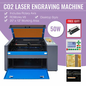 50w 20 x12 Co2 Laser Engraver Marking Engraving Cutting Ruida W Rotary Axis