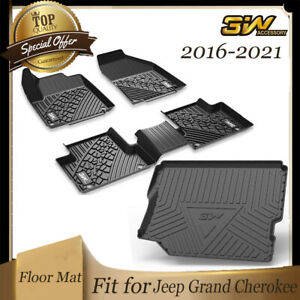 3w Floor Mats 2 Rows W Trunk Liner For 2016 2021 Jeep Grand Cherokee Black