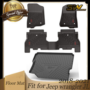 3w Floor Mats 2 Rows Trunk Liner For Jeep Wrangler 2018 2021 Red Logo W No Sub