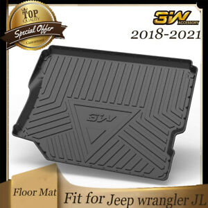 3w Trunk Cargo Liner Floor Mats For Jeep Wrangler 2018 2021 Without Sub Tpe