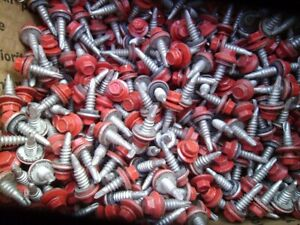 250 Metal Roofing Siding Screws Stichers 7 8 Crimson Red Lot a Nos