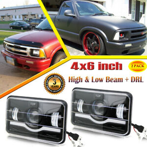 For Chevrolet S10 1994 1995 1996 1997 Blazer 4x6 Led Headlights Hi Lo With Drl