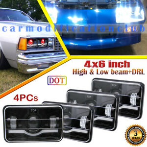 4pcs 4x6 Inch Projector Led Headlights With Red Demon Eye Drl For Chevrolet Car