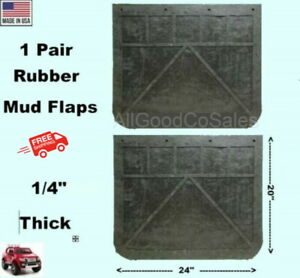 Black Rubber Truck Mud Flaps 1 Pair 24 Wide X 20 Long X 1 4 Thick New