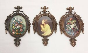 3 Vintage Ornate Oval Victorian Brass Picture Frames Floral Made In Italy