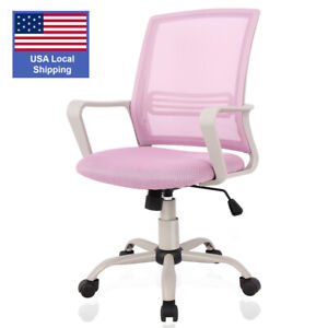 Ergonomic Office Chair Computer Desk Executive Swivel Mid Back Pink Mesh Chair